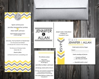 Chevron Wedding Invitation Suite (100)