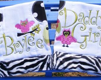 Gorgeous Handmade Owl Polka Dotted Burp Rag Zebra fur Lime Green and Hot Pink