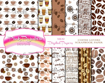 Coffee Lover Digital Pattern Scrapbook Paper ~ Latte Cappuccino Beans Espresso  Cafe Frap Chocolate Mocha