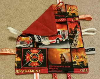 Fire fighter print-teething toy- sensory toy- security blanket- crinkle toy- baby shower gift