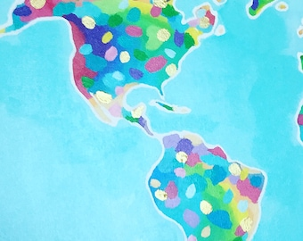 Bright world map etsy rainbow colorful bright world map on canvas boho wall decor original wall painting art gumiabroncs Gallery