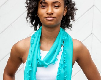 Teal Ruffled Scarf with Turquoise Lettuce Edge