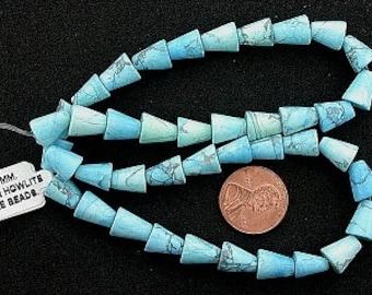 10x8 howlite turquoise gemstone cone beads