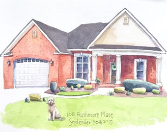 House portrait, anniversary gift, new home, custom house portrait, first home, housewarming gift, realtor gift, watercolor house painting