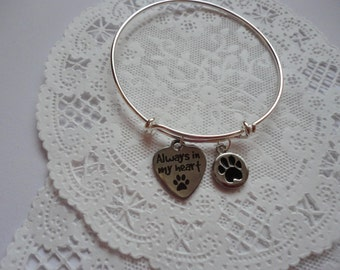 Pets,Pet Loss Bracelet,  Always in my Heart Charm Bracelet, Pet Gift, Bangle Pet Charm Gift, Pet Charm Bracelet,