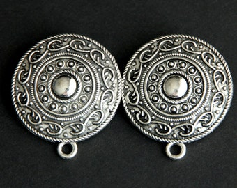 Two (2) Shoulder Brooches. Norse Jewelry. Shield Style Turtle Brooch Set. Viking Brooches. Silver Apron Pins. Historical Reenactment Jewelry