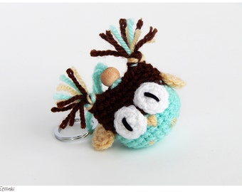 Mint bag charm Crochet owl key chain Brother birthday gifts for him Mens keychain Owl gift for boys Owl ornament Beautiful gifts for friends