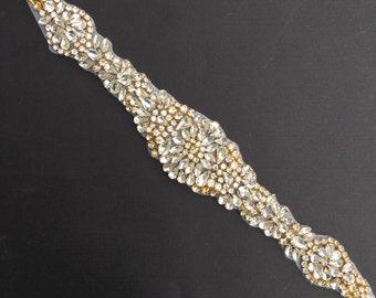 Gold Crystal Rhinestone Applique- Rose Gold Applique- Gold Bridal Applique- Bridal Fabric- Rhinestone Trim- gold Rhinestone Motif [TR-048]