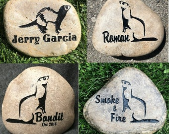 "FERRET MEMORIAL STONE  8"" or 6"" (approx. size) 3 Designs to choose from Engraved, Personalized with Name  Option to add Date"