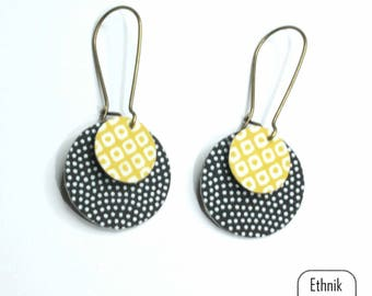 Japanese black and yellow pattern earrings