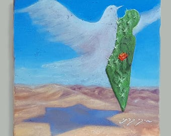 The Sabra and the dove - Shalom Al Israel  Oil Painting