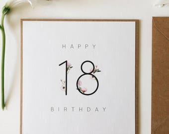 18th birthday card etsy 18th birthday card birthday milestone card handmade happy birthday happy 18th birthday bookmarktalkfo Choice Image