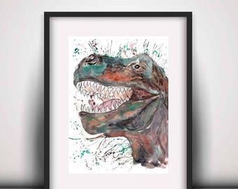 Giclee print, Trex prints, tyrannosaurus print, dinosaur art print, trex art print, watercolour print, kids wall art