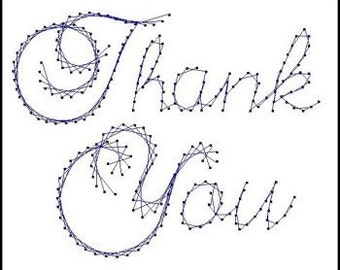 Thank You Sentiment Paper Embroidery Pattern for Greeting Cards