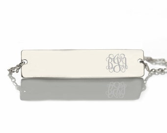 Personalized monogram silver bar name Necklace,bar necklace,Monogram necklace,Engraved Necklace,Monogram Name Necklace