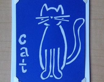 Cat Handmade Silkscreen Greeting Card