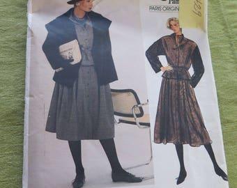 Vintage 80s Vogue Paris Original GUY LAROCHE Misses Jacket Vest and Skirt Sewing Pattern size 12 B34