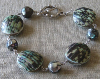 From the Sea Paua & Other Shell Wire-linked Blue-Green Bracelet - B