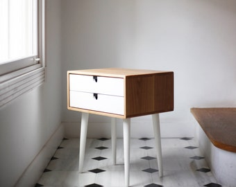 Bedside table Scandinavian Mid-Century style oak table with 1 or 2 drawers, drawer and legs in white
