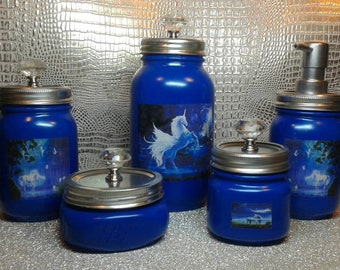 5 piece unicorn mason jar bathroom set