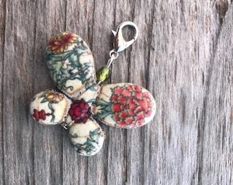 Butterfly Zipper Pull, Howlite Butterfly Bead, Zipper Pull Charm, Zipper Pull, Handbag Zipper Pull, Beaded Zipper Pull, Butterfly Gift, Gift