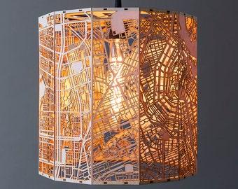 Amsterdam Stadtplan Hängeleuchte auf feinstem Holz