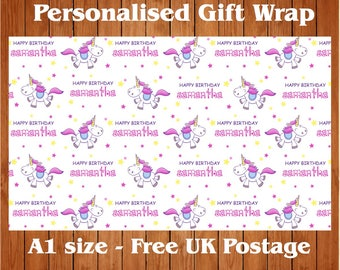 Personalised Unicorn Birthday Wrapping Paper & 2 tags