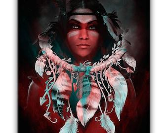 Fine Art Print of 'Dream Girl'. Dream catcher, wolf, fantasy art, Native American, prints, canvas wraps, wall decor. JoWalshArt