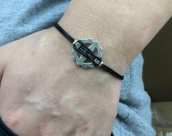 Men's Bracelet - Charms Bracelet, Black cord Bracelet, gift for her, Boyfriend Bracelet, Men's Jewelry