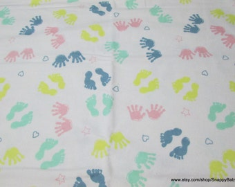 Flannel Fabric - Pastel Hands and Feet - By the Yard - 100% Cotton Flannel