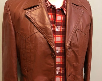 Awesome Brown Leather Men's Leather Jacket with Zip-Out Lining c1970s - SIZE 36