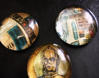 Set of 3 Star Wars Throwback CP30 and R2D2 Glass Magnet/Pins