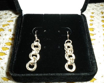 925 Sterling Silver Chain Maille Pierced Earrings