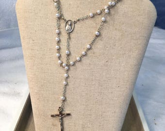 Vintage Silver and Pearl Rosary