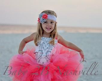 Wedding Dress Flower Girl Dress Damask Dress Coral Dress Silver Dress Baby Dress Toddler Dress Girls Dress Tutu Dress Tulle Dress Pink Dress