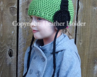 Headphone Crocheted Hat Pattern - Instant Download