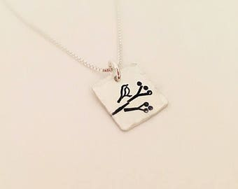 Little Bird Necklace - Bird on a Branch - Dainty Necklace - Sterling Silver Bird