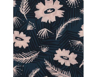 Palms Spring Bouquet in Blue, Rayon -- Poolside -- Cotton + Steel Fabrics, Unbleached Quilting Cotton