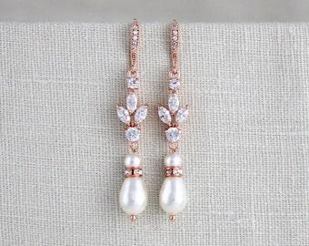 Rose Gold bridal earrings, Wedding jewelry, Crystal Wedding earrings, Rose gold earrings, Pearl earrings, Crystal earrings, Pearl drop EMMA