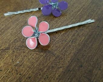 2 Handmade wire flower Bobby pins