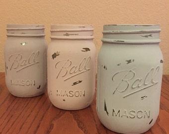 Distressed Mason Jars (Set of 3)