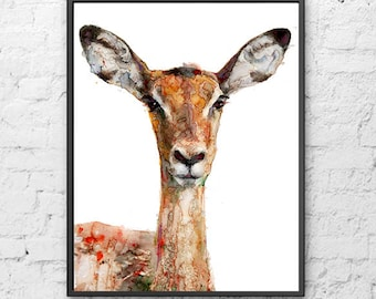 Deer art woodlands animal print deer head watercolor painting artwork print - R23