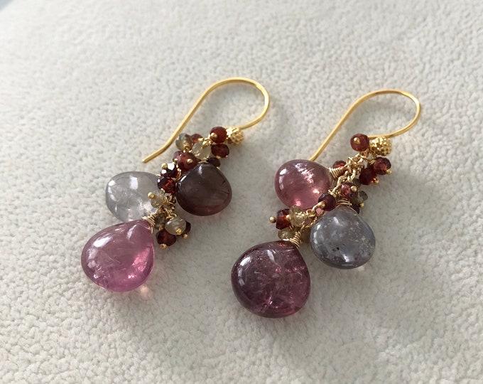 Sapphire Gemstone Cluster Earrings in Gold Vermeil and Umba Sapphire and Tunduru Sapphire