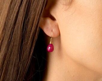 Ruby Earrings/Genuine Ruby Eartings/Ruby stone earrings/Ruby Briolette Earrings/Ruby Drop Earrings/July Birthstone/Ruby Teardrop earrings