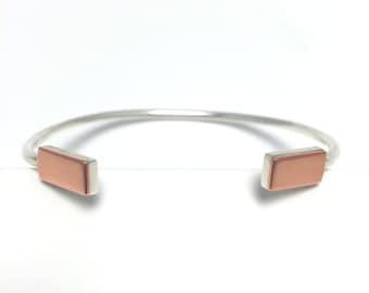 Bracelet _ Rectangles _ silver + copper