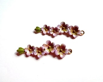 Lavender cherry blossom branch pendant * / yellow/Khaki, painted hands, 56 mm - Ancient lavender & khaki hand painted flower branch pendant