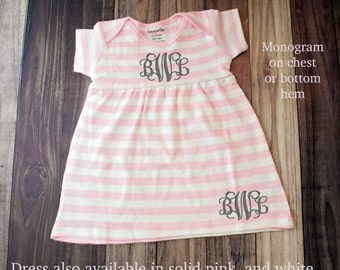 Monogrammed Baby Dress, Monogrammed Baby Outfit - Shower Gift