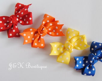 Small hair bows, polka dot hair bows, hair bows, baby bows, hair bow set, small hair bows, little hair bows, baby hair bows, girl gift