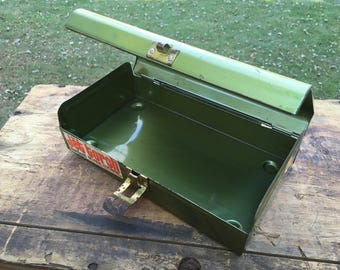Green Metal Toolbox Small Vintage Metallic Green Tin Tool Box Storage Case Bernzomatic Farmhouse Cottage Decor Torch Container