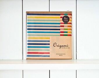 Set of 20 Origami Paper, Folding paper, Origami paper sheets, Origami kit, Midori, Origami japan, Colorful stripes